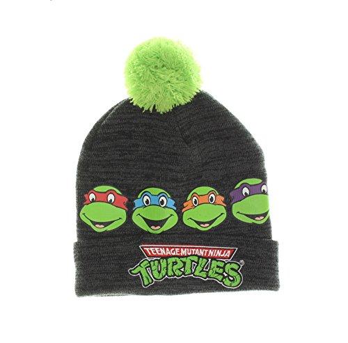 Teenage Mutant Ninja Turtles Peeking Knit Pom Beanie Hat (One Size, Grey)