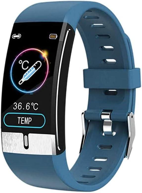 QXbecky Reloj Inteligente La última Pulsera Inteligente Monitor de Temperatura Corporal frecuencia cardíaca presión Arterial Salud Reloj Inteligente a Prueba de Agua Reloj Bluetooth Azul