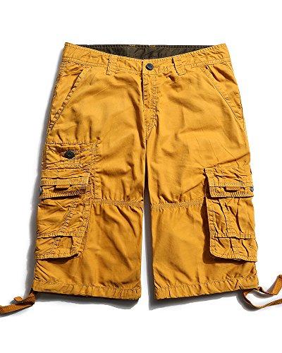 (OCHENTA Men's Casual Lightweight Outdoor Cargo Flat Front Shorts Soil Yellow 34)