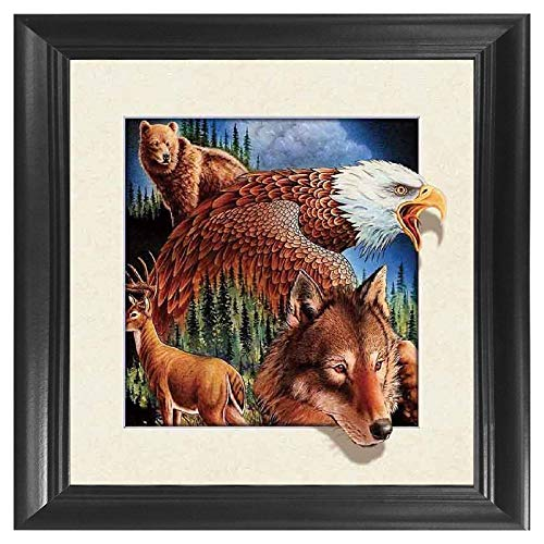 Wolf, Bear, Deer & Eagle Wildlife 5D / 3D Poster Wall Art Decor Framed Print | 18.5x18.5 | Lenticular Posters & Pictures | Memorabilia Gifts for Guys & Girls Bedroom | Forest & Hunting Animal Picture