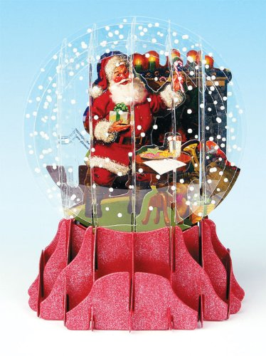 Christmas Greeting Card Pop-up 3-d Snow Globe Fireplace Santa Snowglobe Christmas Cards