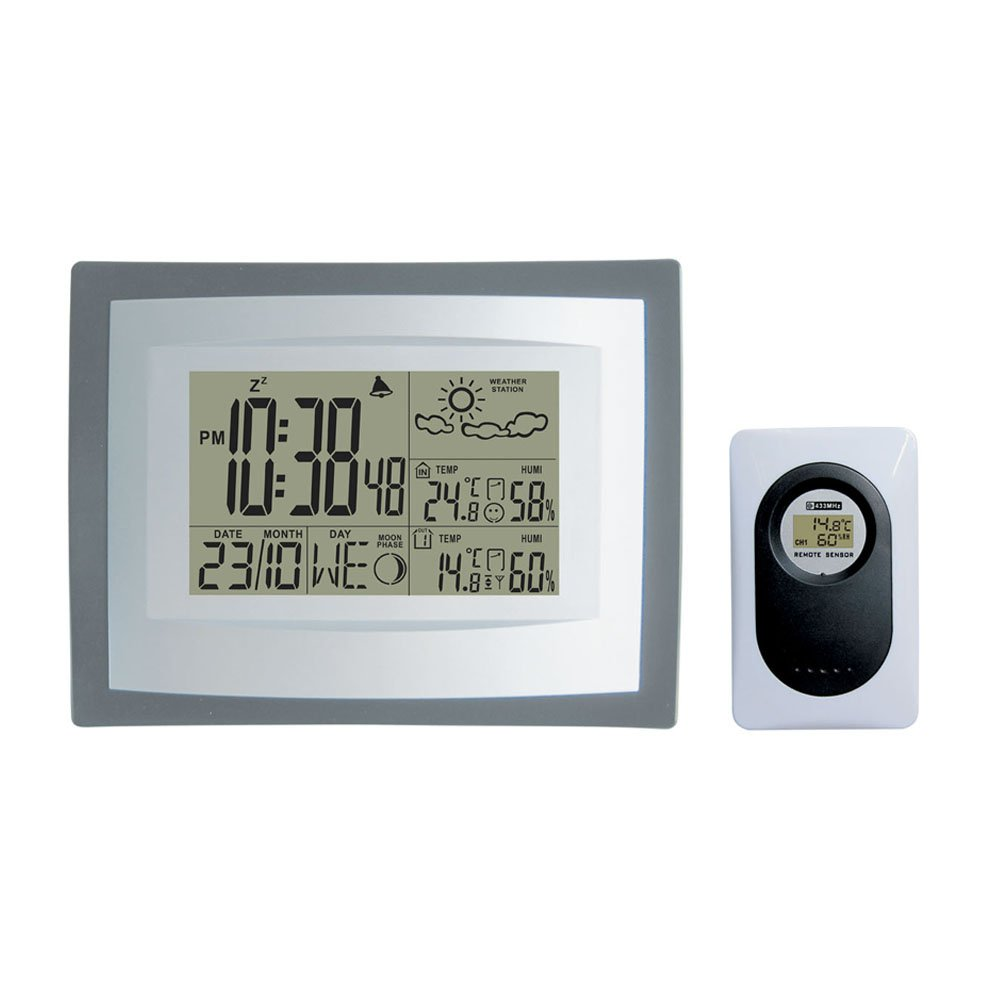 DYKIE RS8716E Wireless Weather Station Digital Clock with Indoor Outdoor Temperature & humidity Monitor and Remote Sensor