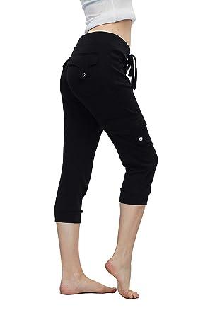 f486b450e926a Amazon.com: Volita Womens Skinny Capri Yoga Pants Comfy Drawstring Jogger  Sweatpants with Pockets: Clothing
