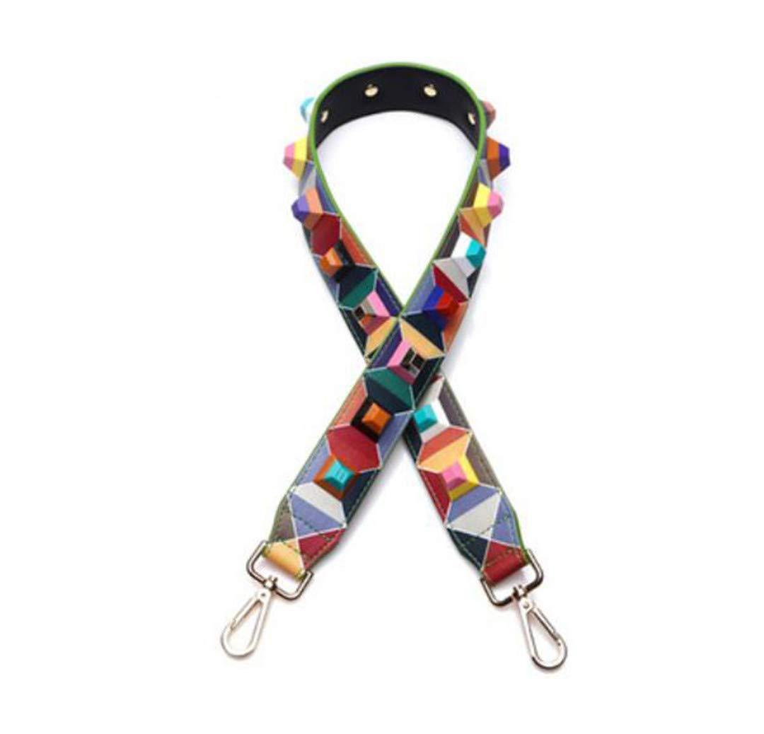 Split Leather Fashion Handbag Strap Flower Stud Design Lady Shoulder Strap 90Cm Handle For Women Bags Belts Q0133 JiHe Gold Buckle