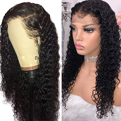 VRBest Hair Deep Wave Human Hair Lace Front Wigs Brazilian Virgin Human Hair Wigs Pre-Plucked 150% Density 100% Unprocessed Wig Natural Color for Black Women(18 Inch)