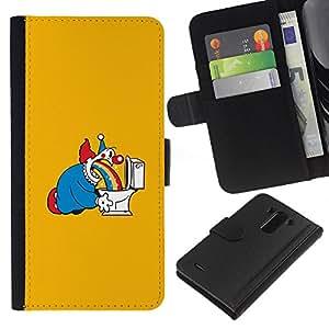 YiPhone /// Tirón de la caja Cartera de cuero con ranuras para tarjetas - Joker en el baño - LG G3