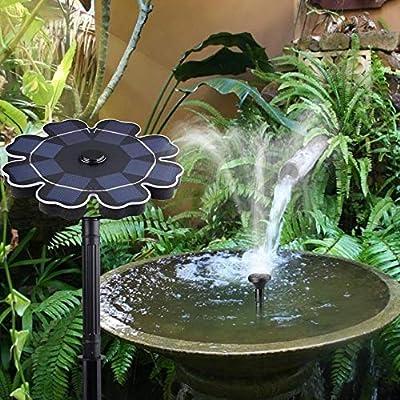 HeyBob 2.5W Jardín Fuente Solar Bomba Fuente de Panel Solar Jardín Estanque Fuentes y baños de pájaros Decoración Fuente Sumergible al Aire Libre, Black: Amazon.es: Jardín