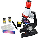 Science Microscope Kit for Children 100x 400x 1200x Refined Scientific Instruments Toy Set for Early Education (Red)