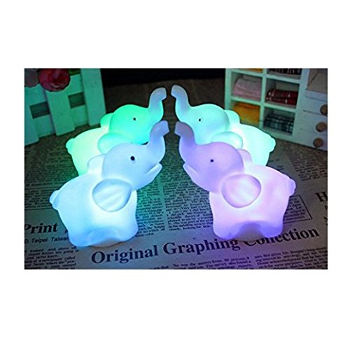 Buyusee 2Pcs/Pack Elephant Shape Color Changing LED Night Light Lamp Venue Party Decor ()