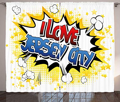 Lunarable New Jersey Curtains, Comic Book Style Typographic Illustration of I Love Jersey City Lettering Urban, Living Room Bedroom Window Drapes 2 Panel Set, 108 W X 84 L Inches, Multicolor