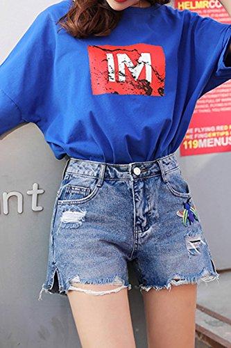 Corto Di Dritto Jeans Tagliato Tratto Ha Donne Blu Fanvans Pantaloncini yUWE1c8qy4