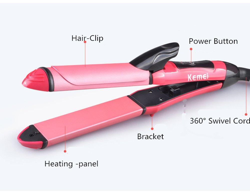Alisador de pelo Youji y rizador de pelo 2 en 1 Curl y pelo recto Varilla de curling de ceramica de pelo: Amazon.es: Hogar