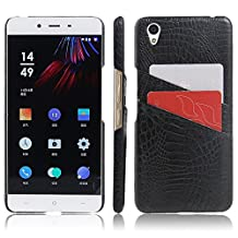 Oneplus X Case, HL Brothers Card Slot Vintage Cases Series, Premium Crocodile Pattern PU Leather Wallet Case Back Cover for Oneplus X 2015 (Card Slot Black)