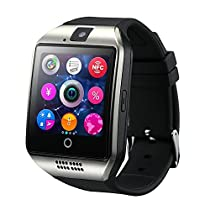 KoTeel Wireless Smartwatch with Camera Original Q18 TF/SIM Card Slot for Android Samsung Galaxy/Note and iphone iOs(partial Functions)Black (Silver)