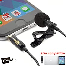 Lavalier Lapel Microphone with Easy Clip On System - Perfect for Recording Youtube Vlog Interview / Podcast - Best Lapel Mic for iPhone 5, 6, 6s, 7, 7 plus, 8, X iPad iPod Android Mac PC