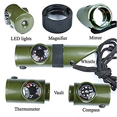 Finlon Camping Emergency 7 in 1 Compass Whistle with Thermometer Magnifier Reflector LED Flashlight - Survival Guide Tools Kit for Outdoor Hiking Fishing Hunting in Army Green from Finlon