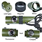 Finlon Camping Emergency 7 in 1 Compass Whistle with Thermometer Magnifier Reflector LED Flashlight - Survival Guide Tools Kit for Outdoor Hiking Fishing Hunting in Army Green