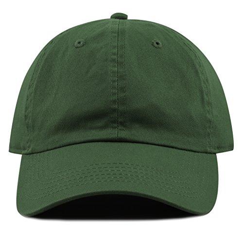 The Hat Depot 300N Washed Low Profile Cotton and Denim Baseball Cap (Dark Green) (Dark Green Baseball Hat)
