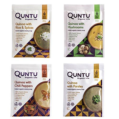 Quntu Instant Organic Quinoa Creamy Soup with Mushrooms, 2.5 oz - 4 Pack
