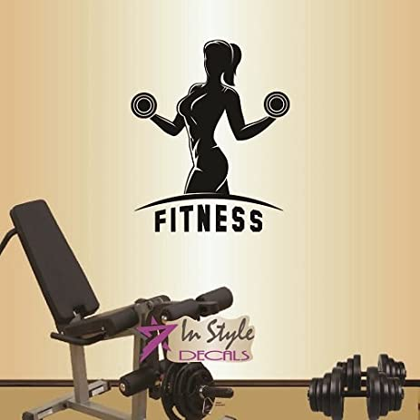wall vinyl decal home decor art sticker fitness sign girl woman workout with dumbbells training gym - Woman Home Decorating