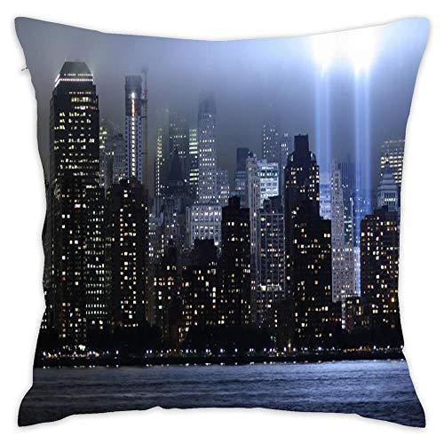 Wbsdfken Memorial Light for The World Trade Center Cotton Linen Square Throw Pillow Case Decorative Cushion Cover Pillowcase Sofa (1818 inch)