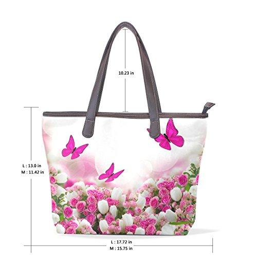 PU fourre multicouleur fourre Papillons M tout tout grand en Sac 002 cm à 40x29x9 bandoulière et cuir Sacs COOSUN poignée roses xY6fxw
