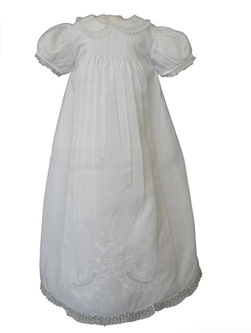 Feltman Brothers Infant Girls White Christening Baptism Gown -White-6M-9M