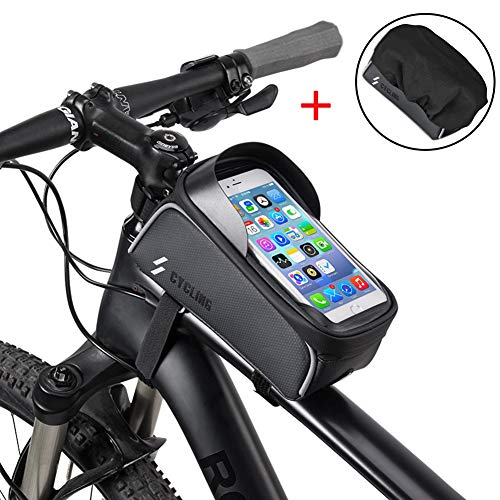 Bike Phone Case Bag, iBesi Waterproof Front Frame Bike Bag Top Tube Mount Bicycle Handlebar Pannier Cell Phone Touch Screen Large Capacity Cycling Pack Compatible with iPhone Xs Max X 8 Plus 7 6S Sams