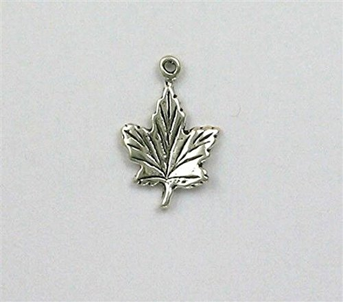 (Sterling Silver 3-D Maple Leaf Charm Jewelry Making Supply, Pendant, Charms, Bracelet, DIY Crafting by Wholesale Charms)