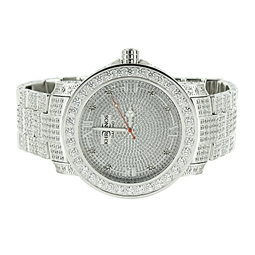 Iced Out Mens Watch Genuine Diamond Khronos Full Iced Out Hip Hop Stainless Steel Pave Set Rapper by Master Of Bling