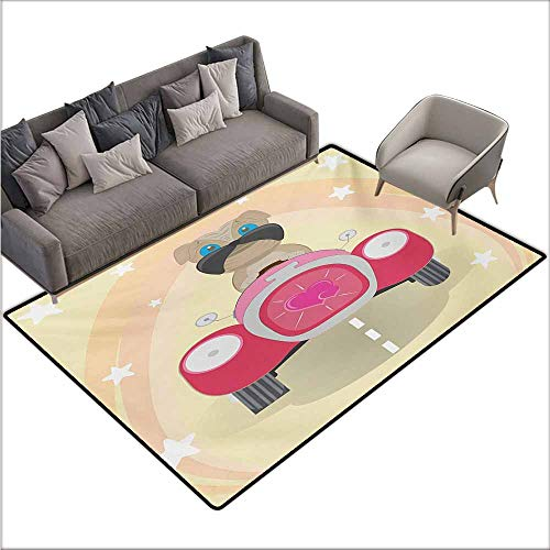Bath Rug Slip Dog Driver Puppy Traveling in a Love Themed Car Fun Cartoon Character Kids Themed Image Quick and Easy to Clean W78 xL94 Multicolor ()