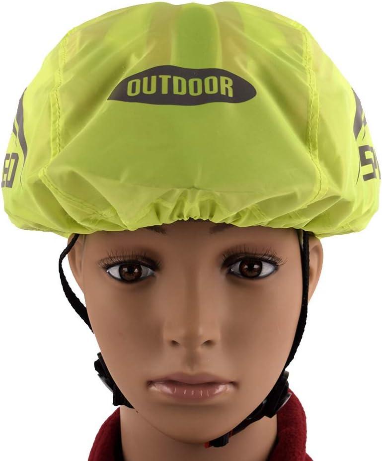 KENANLAN Fahrradhelmabdeckung wasserdichte Fahrradhelmabdeckung Gut Sichtbarer Reflektierender Fahrradhelm Regenschutz Nylon Rennrad Fahrradhelmabdeckung Verstellbare Zugschnur zum Radfahren