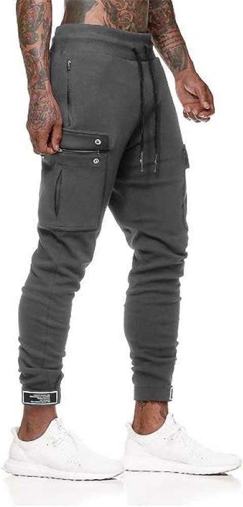 Loeay Surv/êtement pour Homme Bas Noir avec Poches Zipp/ées Streetwear Pantalon De Jogging Casual Style De Rue Longueur Cheville Longueur Pantalon De Jogging