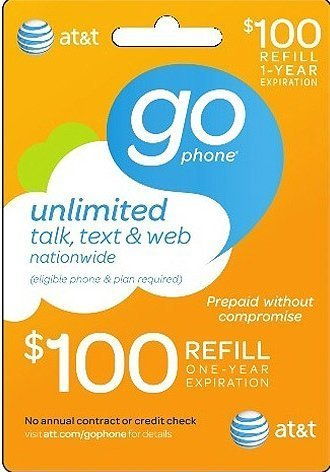AT&T $100 GoPhone Refill Card