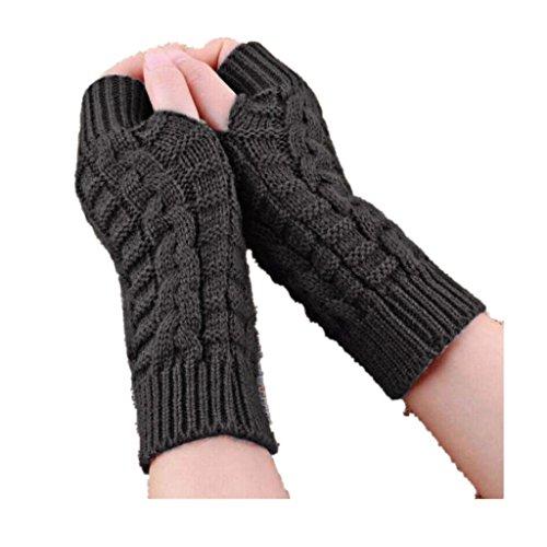 BEAUTYVAN, Knitted Arm Fashion Fingerless Winter Gloves Unisex Soft Warm Mitten (Gray)