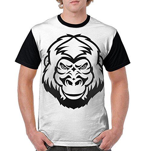 Male 100% Polyester Shirts Clothing/Gorilla Face (18 Vinyl Oz Polyester Black)