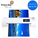 13'' Thermal Laminator for A6/A4/A3, Laminating Machine with Two Roller System and Jam-Release Switch, Automatic Shut Off Function, Fast Warm-up, for Home, Office and School (Laminator A3 - White)