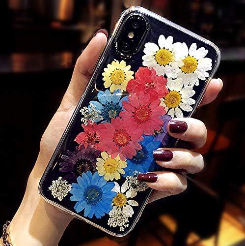 - Colorful iPhone XR Case Pressed Flowers Cute Case for Girls Women [Handmade] [Slim Fit] [Shockproof] AHTONG Soft Clear Silicone Phone Cover with Bumper for iPhone XR 6.1'',Sunflower Colorful
