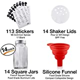 14 Glass Spice Jars Set with Airtight Aluminum Lids | Includes 14 Empty Square Bottles, 239 Labels, and 1 Collapsible Kitchen Funnel | Complete Storage Kit for Spices and Herbs