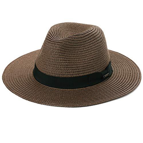Womens Mens Straw Fedora Brim Panama Beach Crushable Packable Havana Summer Sun Hat Party Floppy Ladies Brown Khaki