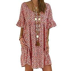 LuminitA Women's Mini Dresses Round Neck...