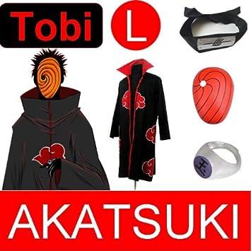 Naruto Cosplay para Tobi - abrigo Akatsuki (L)+ Narudo (rojo)+