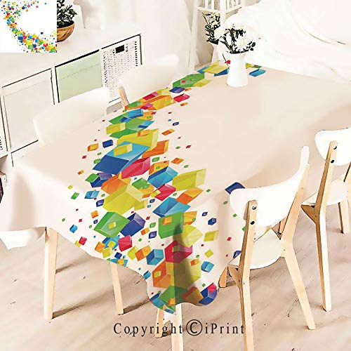 (Party Decorations Polyester Tablecloth,of Multicolored Cubes Future Inspired Art,Waterproof Stain Resistant Table Topper,W55 xL71,Multicolor)
