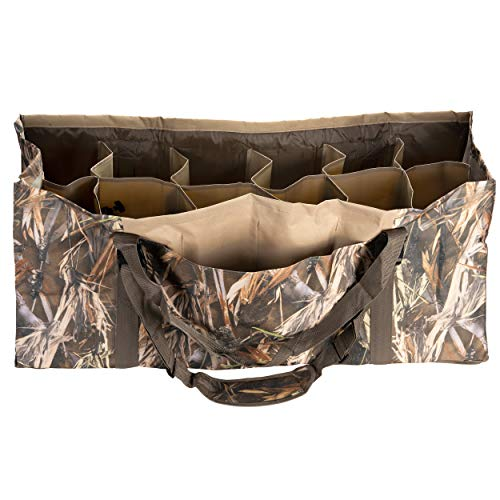 Duck Hunter 12 Slot Duck Decoy Bag Organizer Carrier Carrying Padded Shoulders Organize and Protect Your Duckhunting Gear Full Size Decoys Waterfowl Clean Dirt Drain Design Mallard Teal Blue Wing
