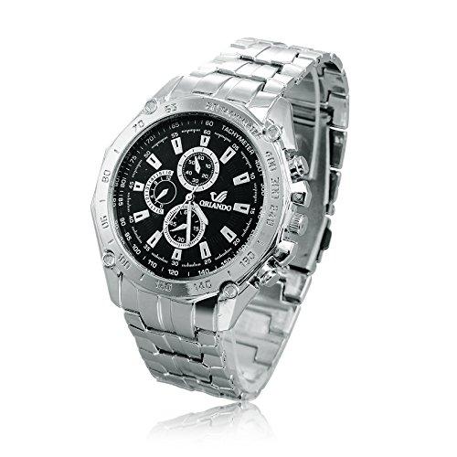 oriando Fashion Marca de lujo reloj Big Dial Full reloj de acero reloj de cuarzo negocio relojes hombre horas Hombre Relogio Masculino: Amazon.es: Relojes