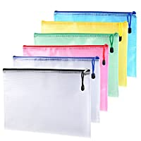 Outus 6 Pieces A4 Size Mesh Document Bag Zip File Bag with Zipper for Cosmetics Offices Supplies Travel Accessories, 6 Colors