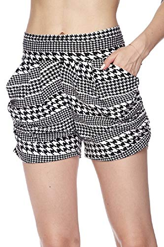 Premium Ultra Soft and Comfy Yummy Popular Print Harem Shorts with Pocket (Large/X-Large (12-18), Houndstooth Stripe Print)