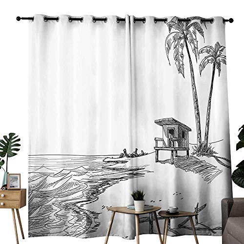 Apartment Decor Collection Exclusive home curtains Sketched Figure of Summer Beach with Palm Trees and Lifeguard Stand Seascape Concept Block most light and ultraviolet light W72