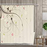 Pink and Tan Shower Curtain Anniutwo Dragonfly Shower Curtain Collection by Spring Field Bouquet Shabby Chic Abstract Blossom Greenland Graphic Art Patterned Shower Curtain 72