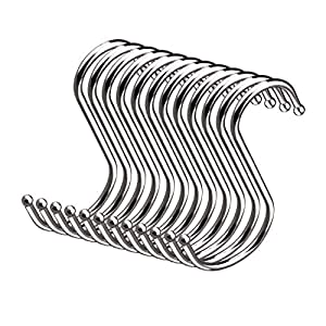 CUH 20 PCS S Shaped Hooks Heavy-Duty Kitchen Round S Type Hanging Hooks Hangers for Home and Office